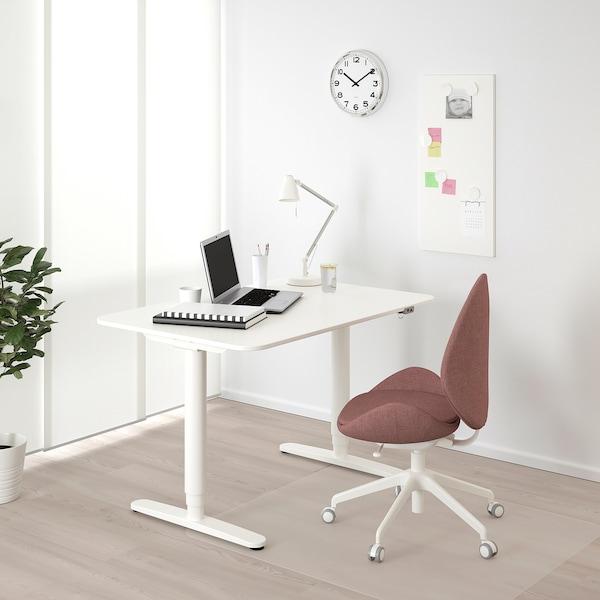 BEKANT Skrivbord sitt/stå, vit, 120x80 cm