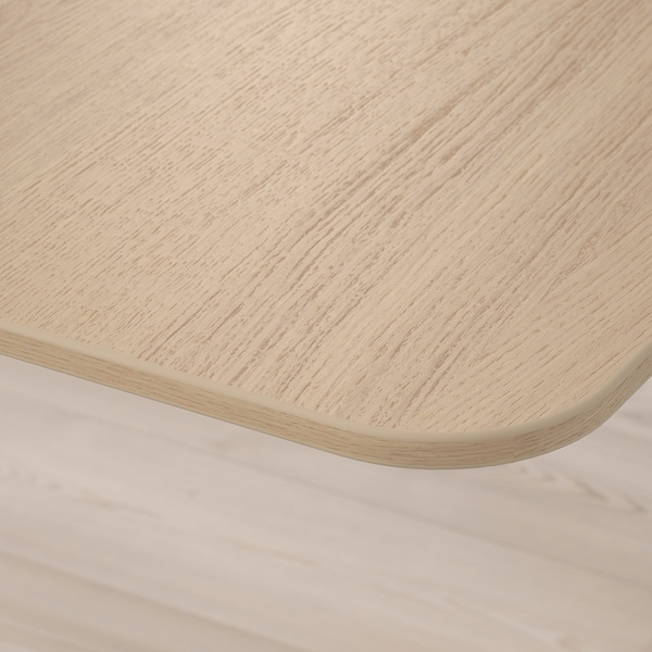BEKANT Skrivbord sitt/stå, vitlaserad ekfaner/vit, 160x80 cm