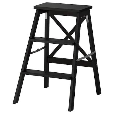 BEKVÄM Trappstege, 3 steg, svart, 63 cm