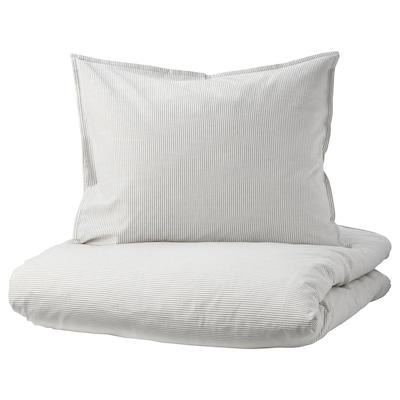 BERGPALM Påslakan 1 örngott, grå/rand, 150x200/50x60 cm