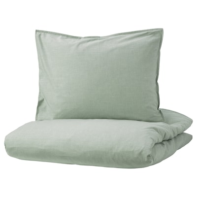 BERGPALM Påslakan 1 örngott, grön/rand, 150x200/50x60 cm