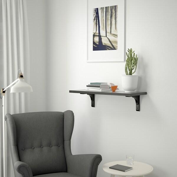 BERGSHULT / RAMSHULT Vägghylla, brunsvart, 80x30 cm