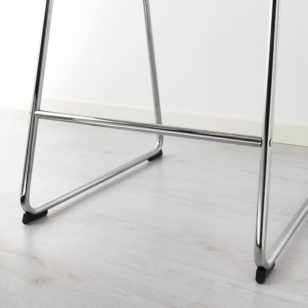 BERNHARD Barstol, förkromad/Mjuk vit, 66 cm