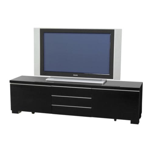 BESTÅ BURS Tv-bänk IKEA Det finns gott om plats för tv-spel och tillbehör i de två rymliga lådorna. Du kan lyfta ut de två boxarna ur lådorna.