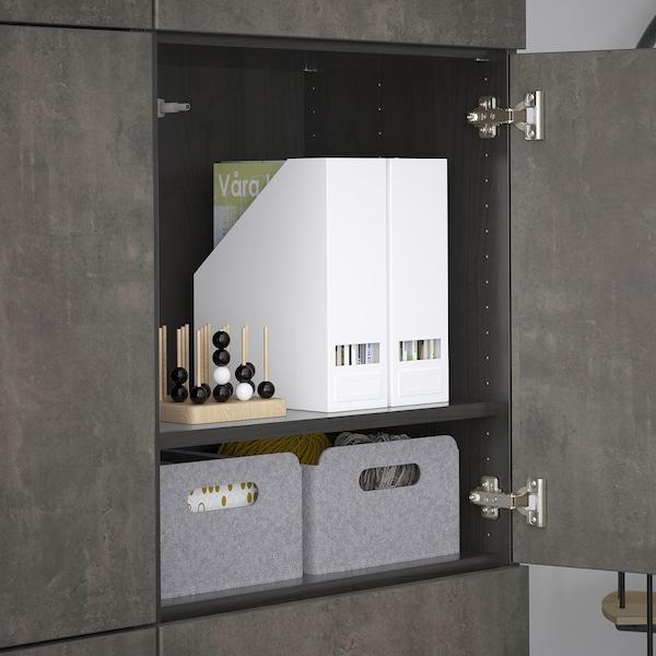 BESTÅ Förvaring med dörrar, svartbrun Kallviken/mörkgrå betongmönstrad, 120x42x193 cm