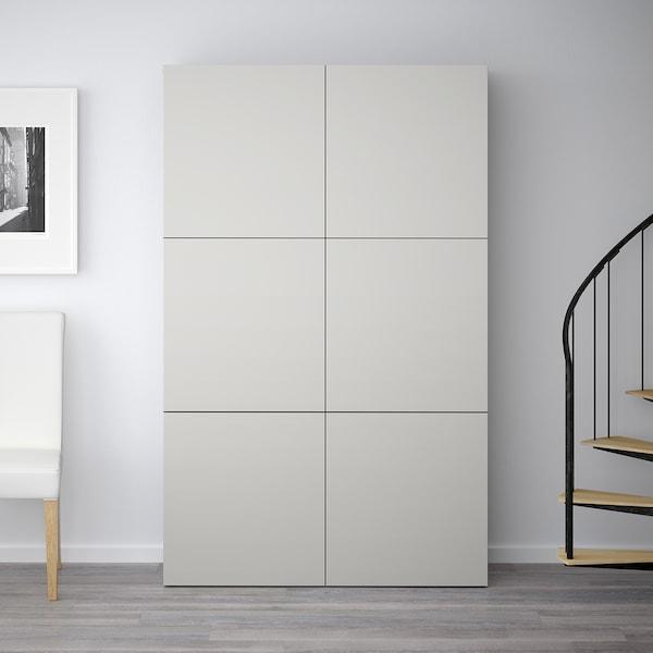 BESTÅ Förvaring med dörrar, svartbrun/Lappviken ljusgrå, 120x40x192 cm