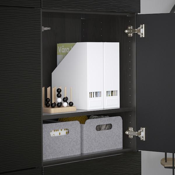 BESTÅ Förvaring med dörrar, svartbrun/Laxviken svart, 120x42x193 cm