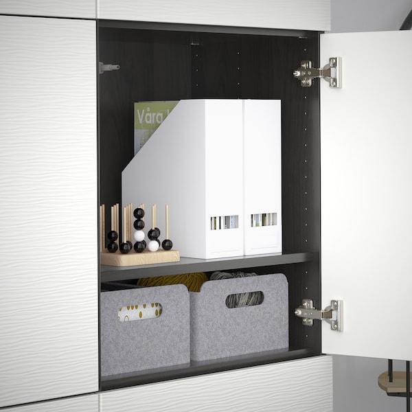 BESTÅ Förvaring med dörrar, svartbrun/Laxviken vit, 120x42x193 cm