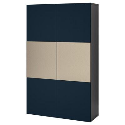 BESTÅ Förvaring med dörrar, svartbrun Riksviken/Notviken blå, 120x42x192 cm