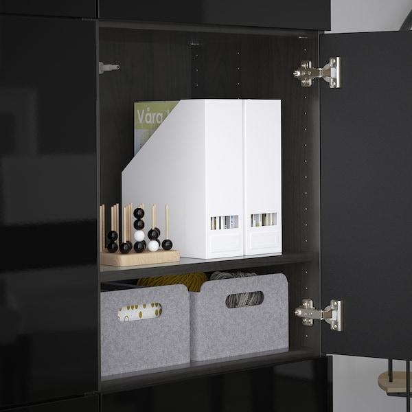 BESTÅ Förvaring med dörrar, svartbrun/Selsviken högglans/svart, 120x42x193 cm