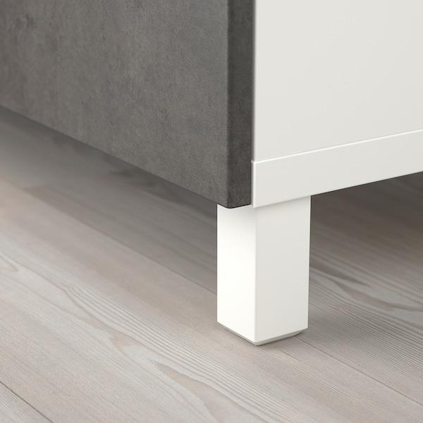 BESTÅ Förvaring med dörrar, vit/Kallviken/Stubbarp betongmönstrad, 120x42x202 cm