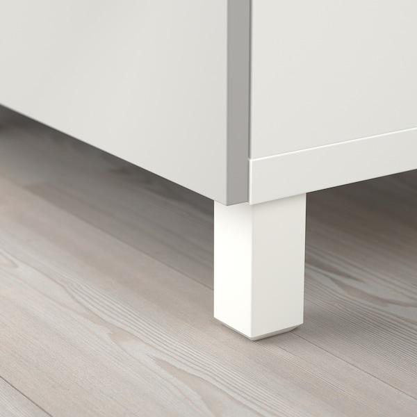 BESTÅ Förvaring med dörrar, vit Lappviken/ljusgrå klarglas, 180x42x112 cm