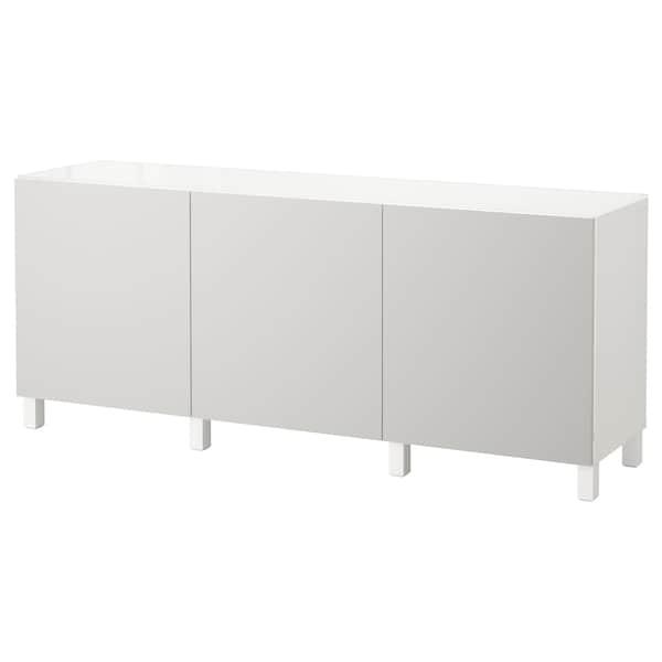 BESTÅ Förvaring med dörrar, vit/Lappviken ljusgrå, 180x40x74 cm