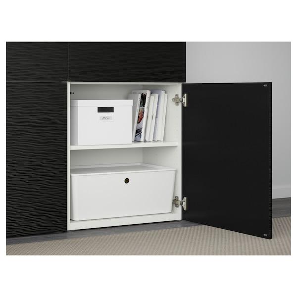BESTÅ Förvaring med dörrar, vit/Laxviken svart, 120x42x193 cm