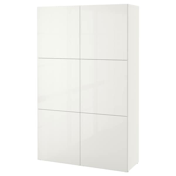 BESTÅ Förvaring med dörrar, vit/Selsviken högglans/vit, 120x40x192 cm
