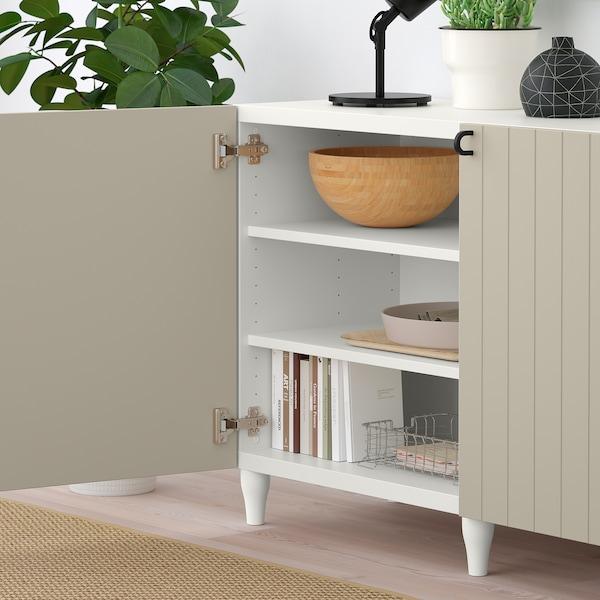 BESTÅ Förvaring med dörrar, vit/Sutterviken/Kabbarp gråbeige, 180x42x74 cm