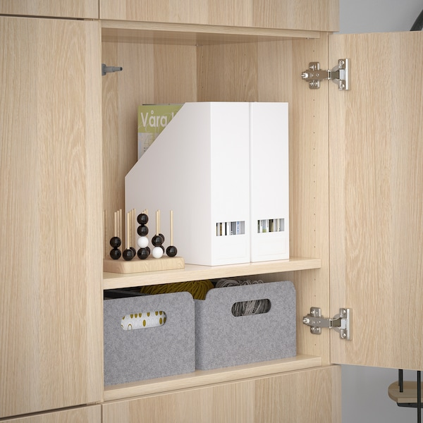 BESTÅ Förvaring med dörrar, vitlaserad ekeffekt/Lappviken vitlaserad ekeffekt, 120x42x193 cm