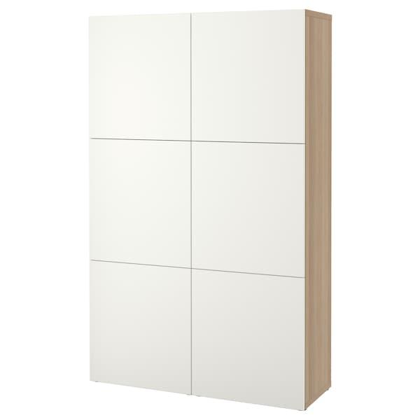 BESTÅ Förvaring med dörrar, vitlaserad ekmönstrad/Lappviken vit, 120x42x193 cm