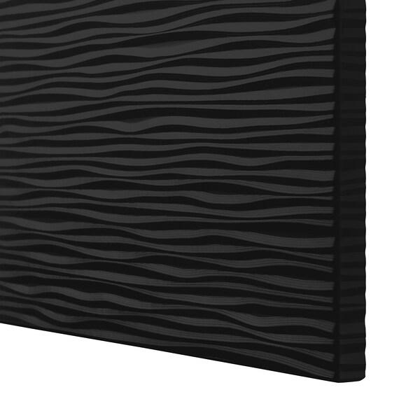 BESTÅ Förvaring med dörrar, vitlaserad ekmönstrad/Laxviken svart, 120x42x193 cm