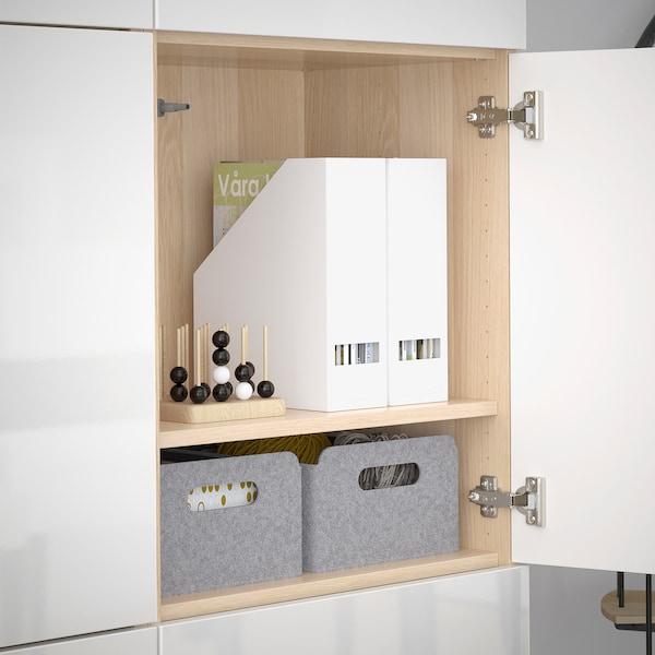 BESTÅ Förvaring med dörrar, vitlaserad ekmönstrad/Selsviken högglans/vit, 120x42x193 cm