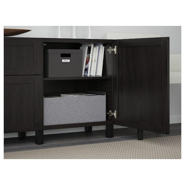 BESTÅ Förvaring med lådor, svartbrun/Hanviken/Stubbarp svartbrun, 180x42x74 cm