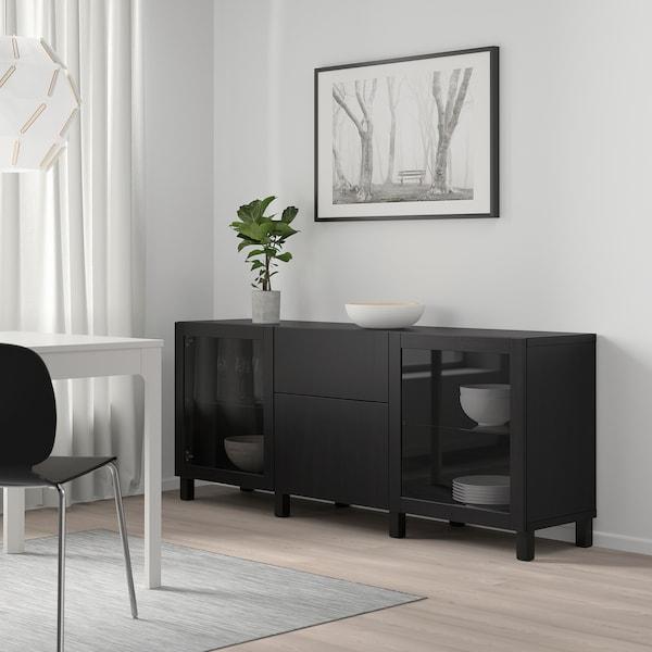 BESTÅ Förvaring med lådor, svartbrun Lappviken/Sindvik/Stubbarp svartbrun klarglas, 180x42x74 cm
