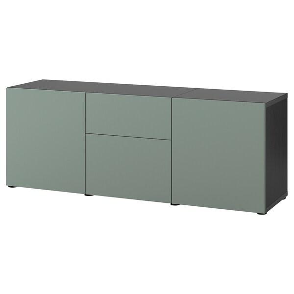 BESTÅ Förvaring med lådor, svartbrun/Notviken grågrön, 180x42x65 cm