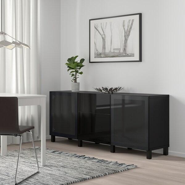 BESTÅ Förvaring med lådor, svartbrun/Selsviken/Stubbarp högglans/svart rökfärgat glas, 180x42x74 cm