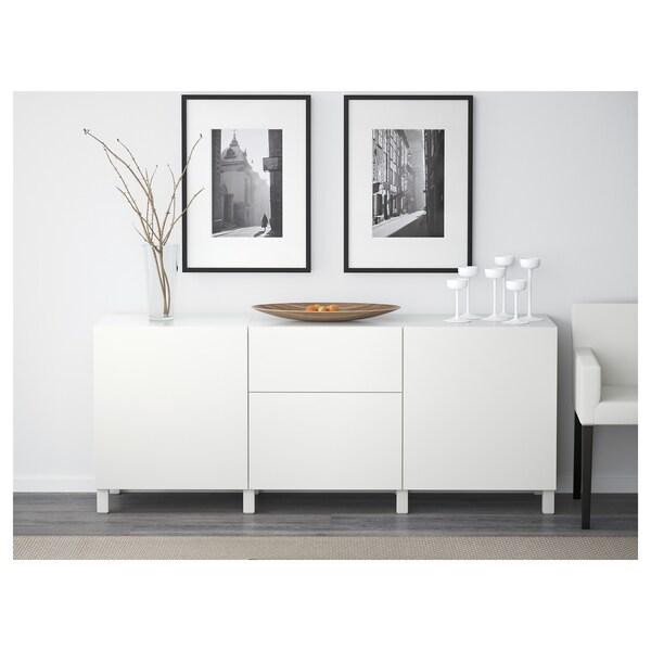 BESTÅ Förvaring med lådor, vit/Lappviken vit, 180x40x74 cm
