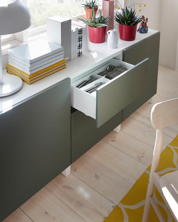 BESTÅ Förvaring med lådor, vit/Notviken/Stubbarp grågrön, 180x42x74 cm