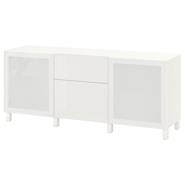 BESTÅ Förvaring med lådor, vit/Selsviken/Stubbarp högglans/vit frostat glas, 180x42x74 cm