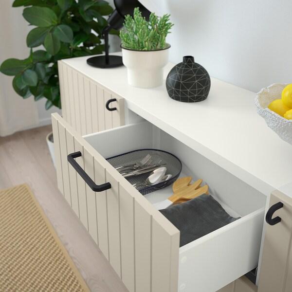 BESTÅ Förvaring med lådor, vit/Sutterviken/Kabbarp gråbeige, 180x42x74 cm