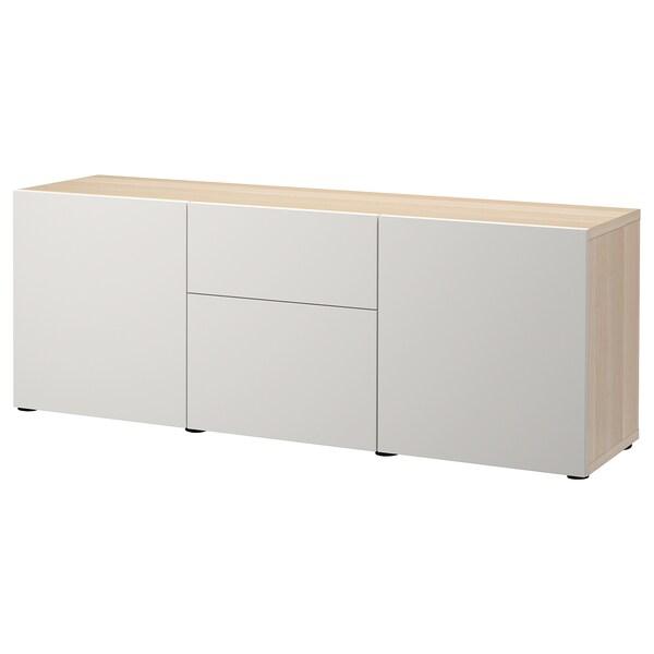 BESTÅ Förvaring med lådor, vitlaserad ekeffekt/Lappviken ljusgrå, 180x42x65 cm