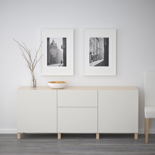 BESTÅ Förvaring med lådor, vitlaserad ekeffekt/Lappviken ljusgrå, 180x40x74 cm