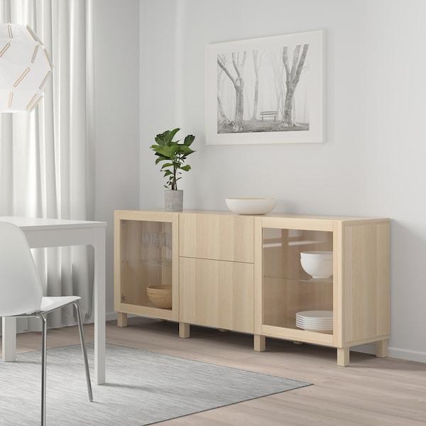 BESTÅ Förvaring med lådor, vitlaserad ekeffekt Lappviken/Sindvik/Stubbarp vitlaserad ekmönstrat klarglas, 180x42x74 cm