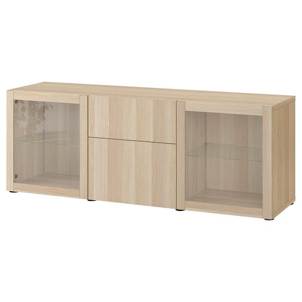BESTÅ Förvaring med lådor, vitlaserad ekeffekt Lappviken/Sindvik vitlaserad ekmönstrat klarglas, 180x42x65 cm