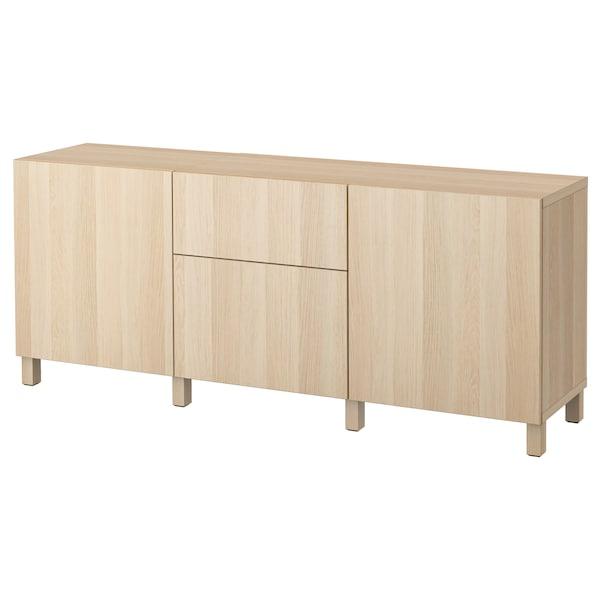 BESTÅ Förvaring med lådor, vitlaserad ekeffekt/Lappviken vitlaserad ekmönstrat klarglas, 180x40x74 cm