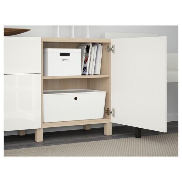 BESTÅ Förvaring med lådor, vitlaserad ekmönstrad/Selsviken högglans/vit, 180x40x74 cm