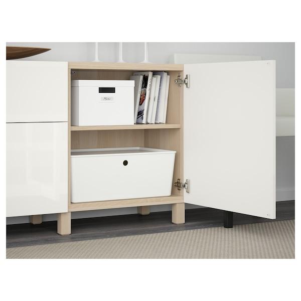 BESTÅ Förvaring med lådor, vitlaserad ekmönstrad/Selsviken/Stubbarp högglans/vit, 180x42x74 cm