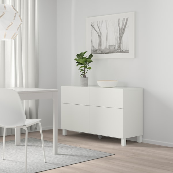 BESTÅ Förvaringskombination+dörrar/lådor, Lappviken vit, 120x40x74 cm