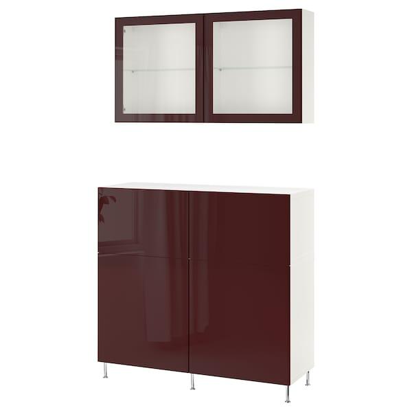BESTÅ Förvaringskombination+dörrar/lådor, vit Selsviken/Stallarp/mörk rödbrun klarglas, 120x42x240 cm