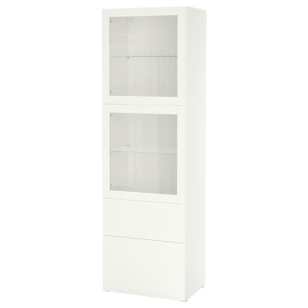 BESTÅ Förvaringskombination med glasdörr, vit/Lappviken vit klarglas, 60x42x193 cm