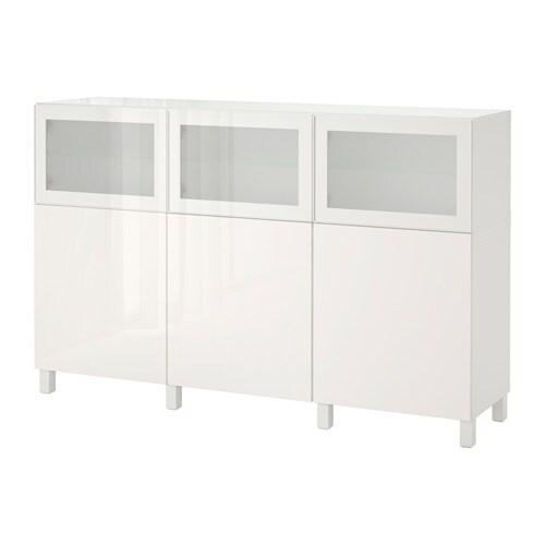 BESTå Förvaring med dörrar vit Selsviken Glassvik högglans vit frostat glas IKEA