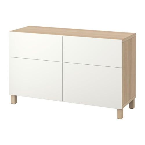 Ikea Dombas Wardrobe Closet ~   ekmönstrad Lappviken vit, lådskena, tryck och öppna  IKEA