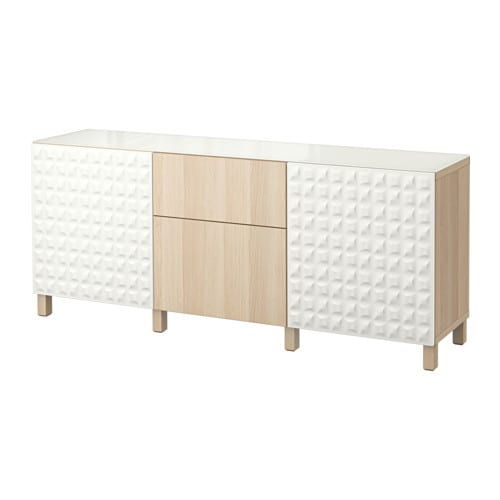 Ikea Dombas Wardrobe Closet ~  Lappviken vitlaserad ekmönstrad, lådskena, tryck och öppna  IKEA