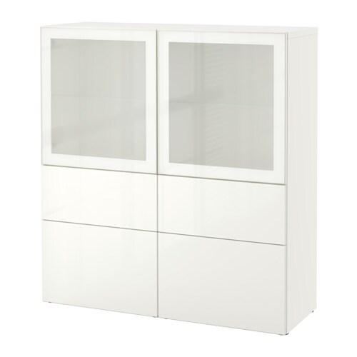 BESTå Förvaringskombination med glasdörr vit Selsviken högglans vit frostat glas, lådskena