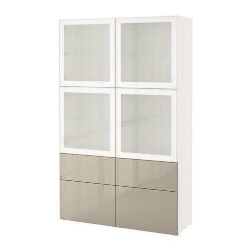 BESTå Förvaringskombination med glasdörr vit Selsviken högglans beige frostat glas, lådskena