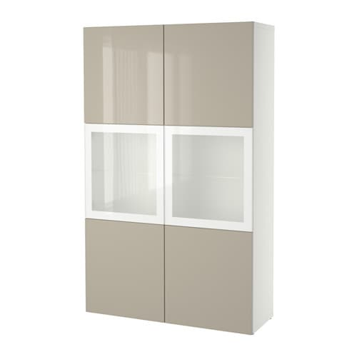 BESTå Förvaringskombination med glasdörr vit Selsviken högglans beige frostat glas IKEA
