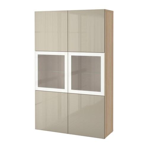 BESTå Förvaringskombination med glasdörr vitlaserad ekmönstrad Selsviken högglans beige