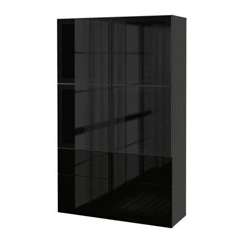 Ikea Dombas Wardrobe Closet ~   högglans svart rökfärgat glas, lådskena, tryck och öppna  IKEA